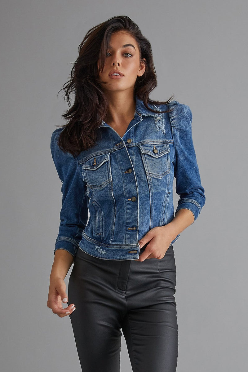 RETROFETE ADA DENIM JACKET IN WORN VINTAGE BLUE