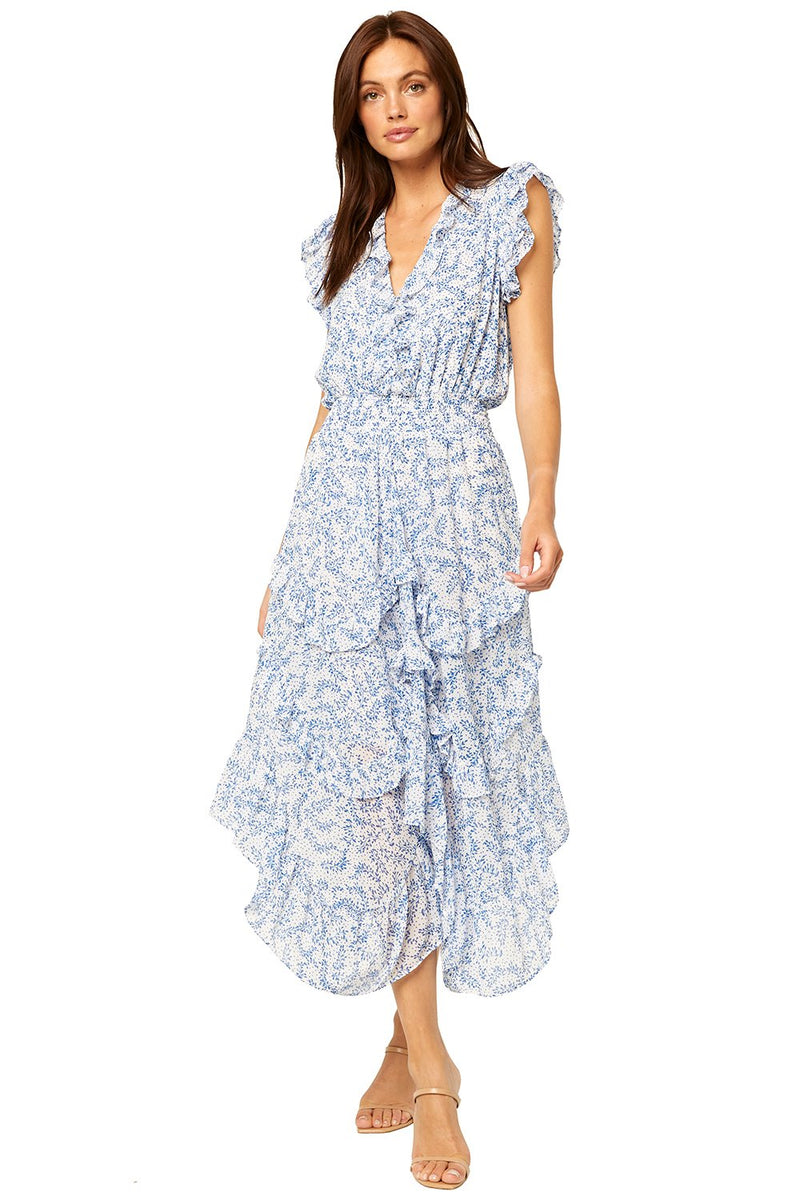 MISA DAKOTA MAXI DRESS IN BLUE PETALS