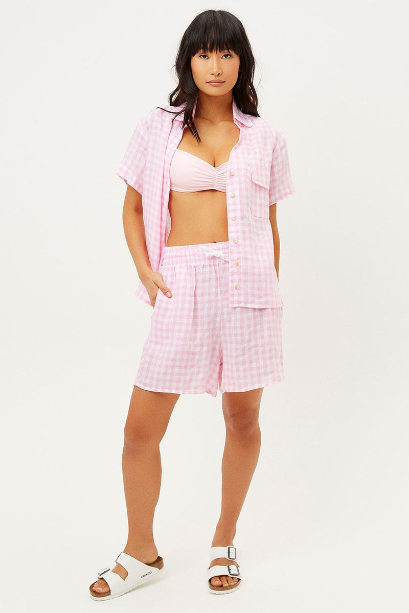 FRANKIE'S BIKINIS LOU LINEN TOP IN PINK PICNIC