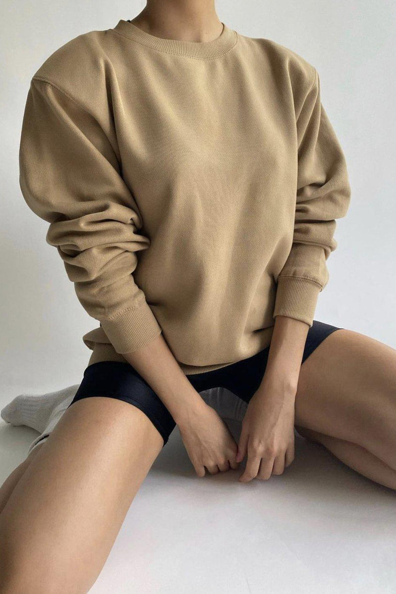 PARENTEZI PADDED SHOULDER CREWNECK SWEATER IN CARAMEL