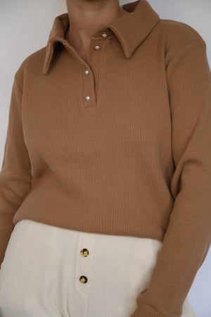 DONNI. THICK THERMAL PULLOVER IN CAMEL