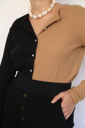 DONNI. DUO THERMAL CARDI IN BLACK/CAMEL