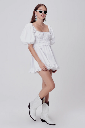 FOR LOVE & LEMONS JACKSON MINI DRESS IN IVORY