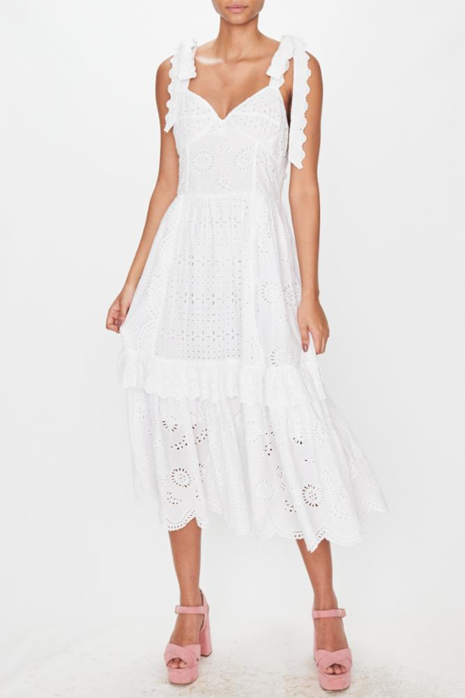LOVESHACKFANCY ANTONELLA DRESS IN ANTIQUE WHITE