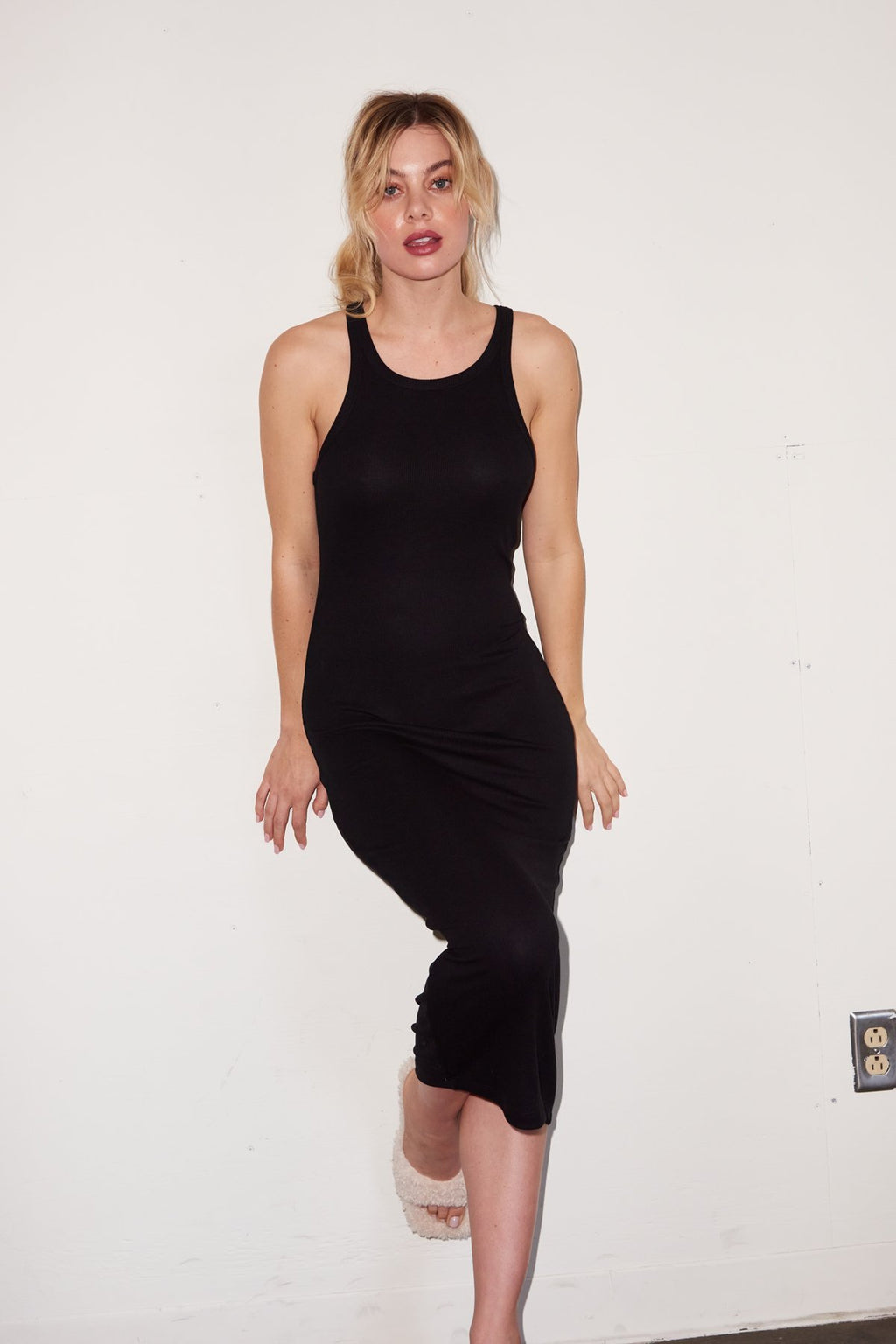 LNA SKINNY RACER MIDI TANK DRESS IN BLACK