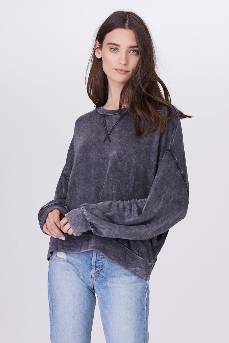 LNA MINERAL WASH RIXO PULLOVER IN BLACK