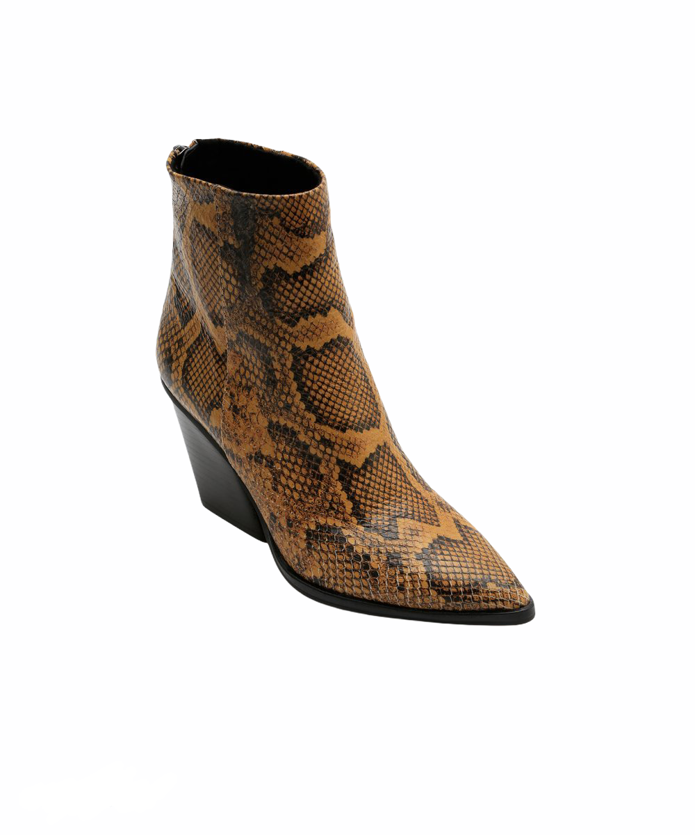 DOLCE VITA ISSA BOOTIE IN AMBER SNAKE
