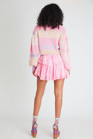 LOVESHACKFANCY RUFFLE MINI SKIRT IN FUCHSIA HAND DYE