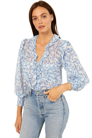MISA SACHA TOP IN BLUE PETALS