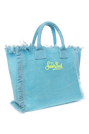 MC2 SAINT BARTH EMBROIDERED VANITY BAG IN AQUA MIAMI ADDICTED