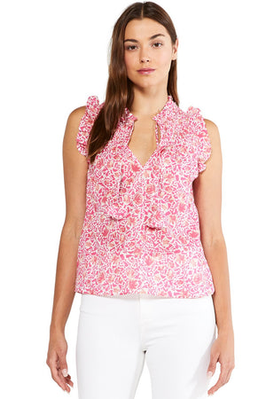 MISA AGOT TOP IN PINK ANIMAL FLORAL