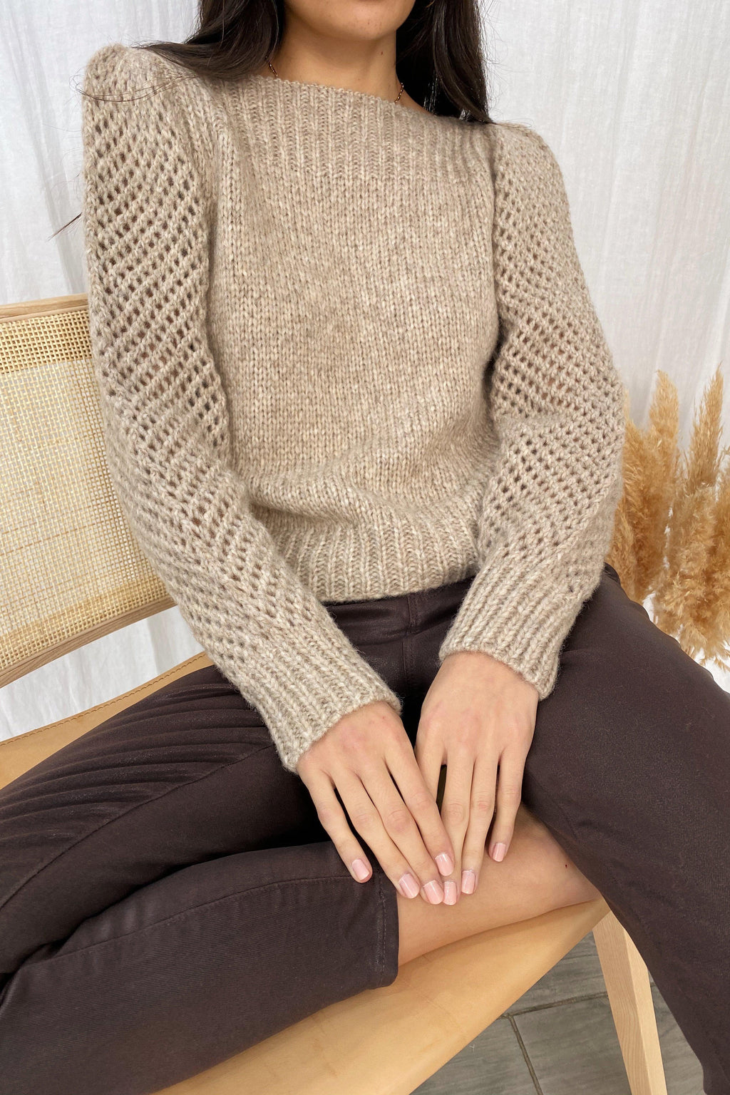LOVESHACKFANCY ROSIE PULLOVER IN OATMEAL