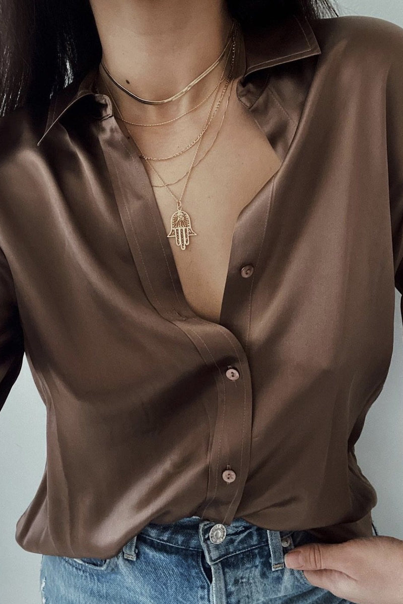 L'AGENCE DANI 3/4 BLOUSE IN SPARROW