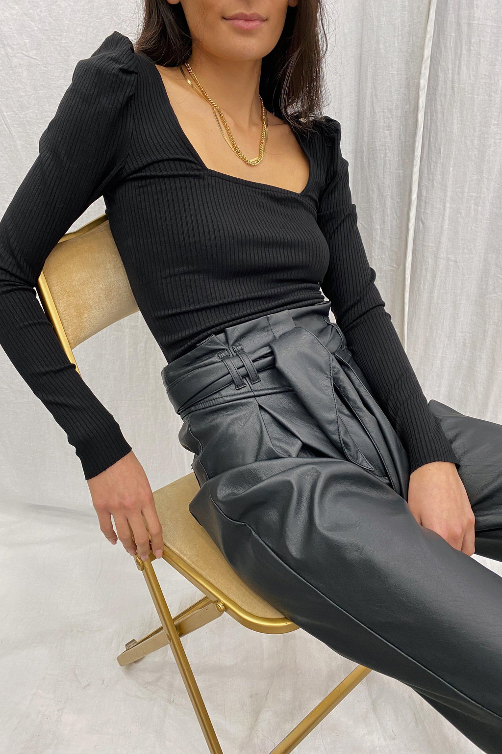 THE RANGE ALLOY RIB SQUARE NECK PUFF SLEEVE TOP IN BLACK