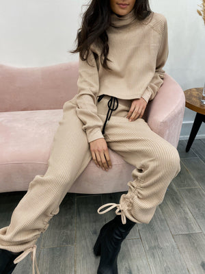 THE RANGE STARK JUMBO WAFFLE CROPPED TURTLENECK IN SADDLE