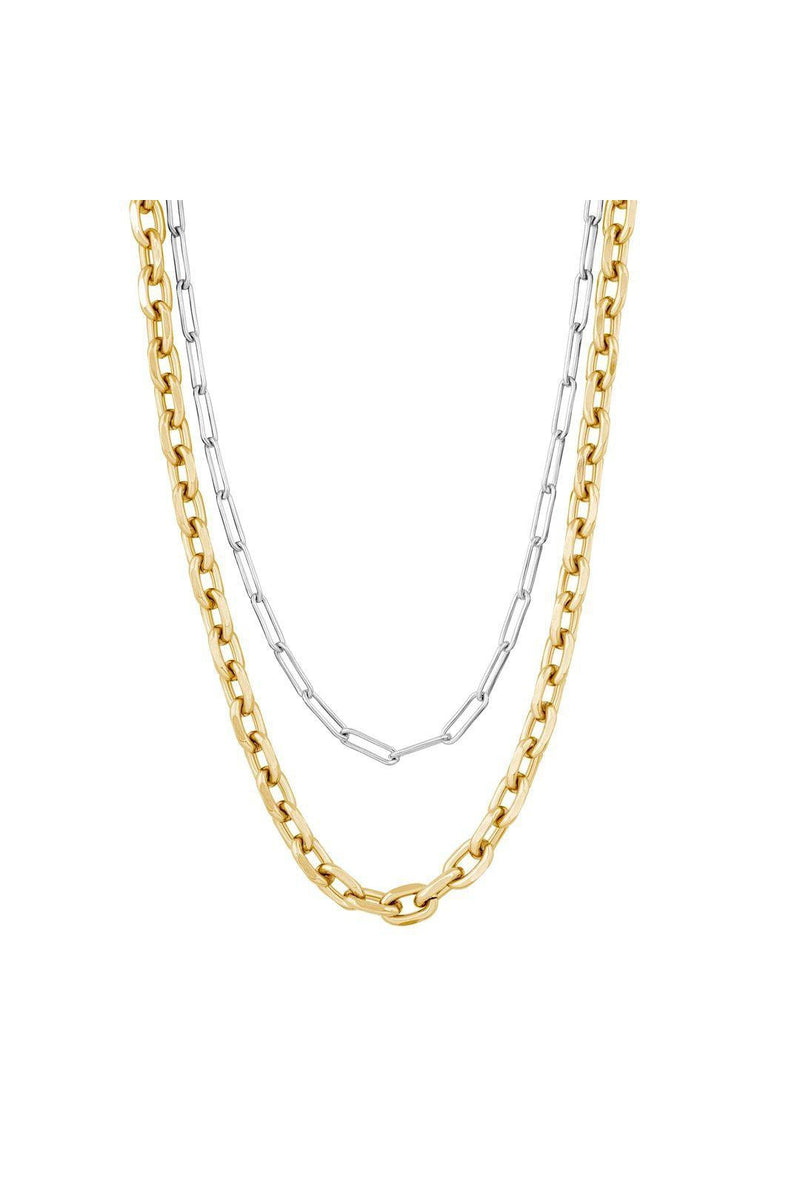 ELECTRIC PICKS METALLIC DOUBLE LAYER NECKLACE
