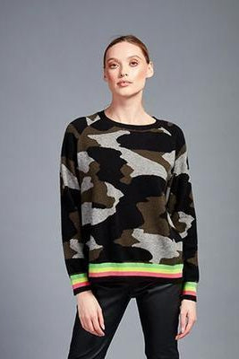 BRODIE CASHMERE KELLY CAMO SWEATER IN NEON STRIPE