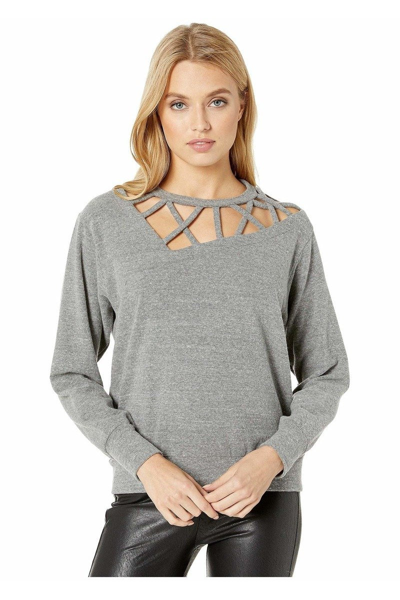 LNA BRUSHED FREELANCE SWEATER IN HEATHER GREY