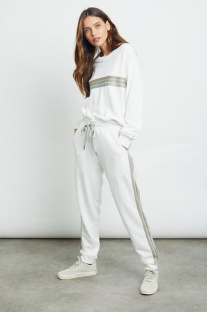 RAILS OAKLAND SWEATPANT IN WHITE METALLIC STRIPES