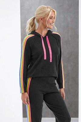 BRODIE CASHMERE RUBY HOODIE IN CHARCOAL RAINBOW STRIPE