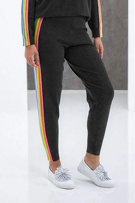 BRODIE CASHMERE RUBY JOGGER IN CHARCOAL RAINBOW STRIPE