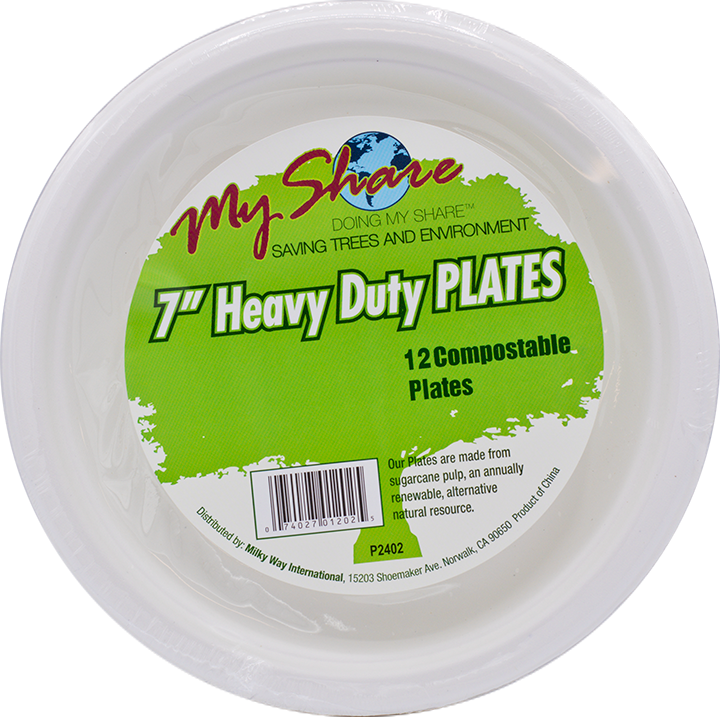 "My Share Biodegradable 7"" Plates, Heavy Duty- 12 Count (Pack of 4 or 24) - MWPolar"