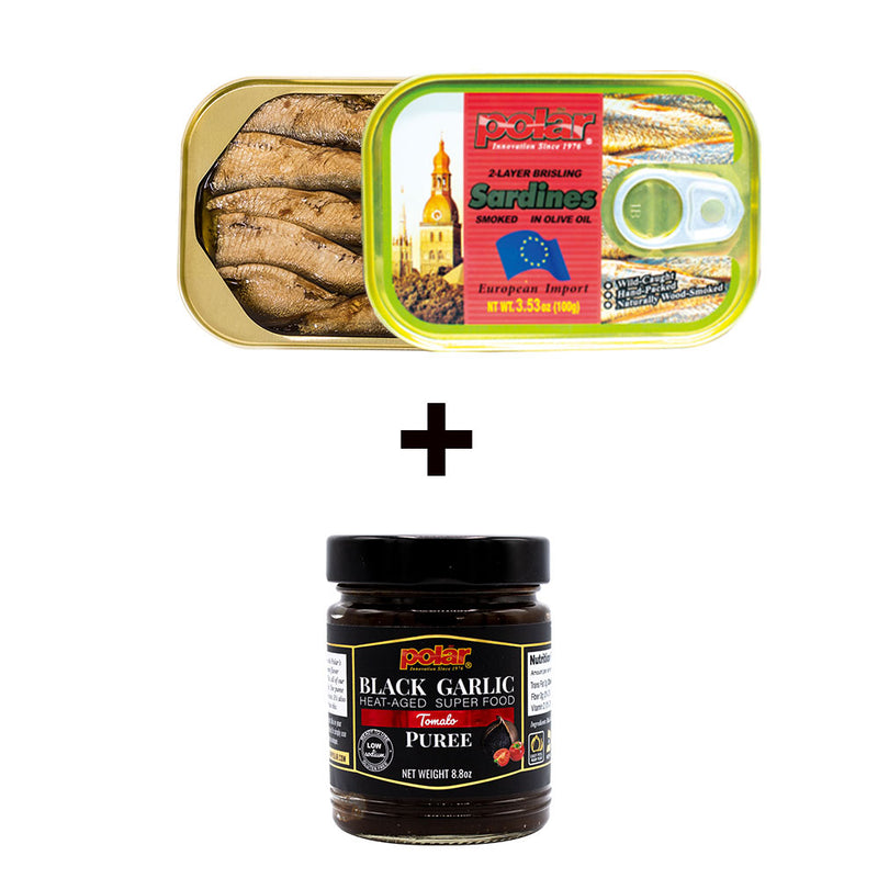 Brisling Sardines in Olive Oil Club Can 3.53oz (Pack of 12) + Black Garlic Puree in Tomato Flavor (Pack of 2) Holiday Bundle - MWPolar