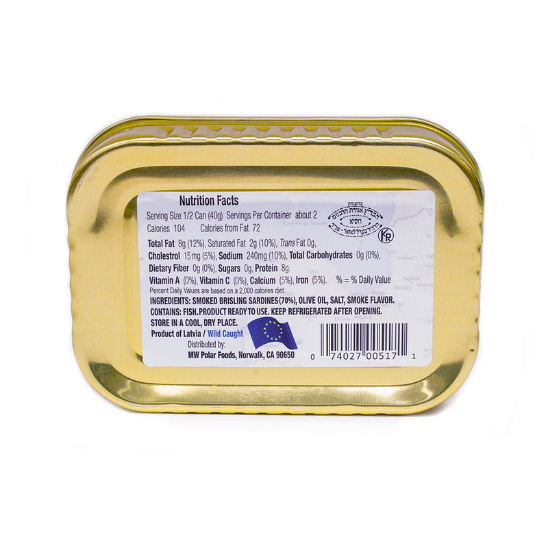 Brisling Sardines Smoked in Olive Oil 3.53 oz (Pack of 12) - MWPolar