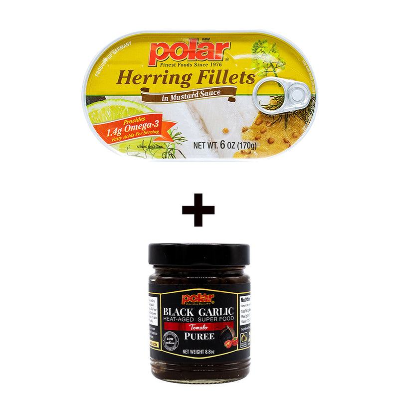 Herring Fillet in Mustard 6oz (Pack of 14) + Black Garlic Puree in Tomato Flavor (Pack of 2) Holiday Bundle - MWPolar