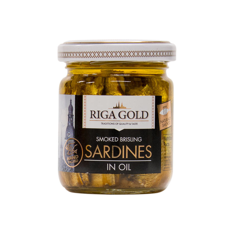 Riga Gold Smoked Brisling Sardines in Oil 3.53 ounce (Pack of 15) - MWPolar