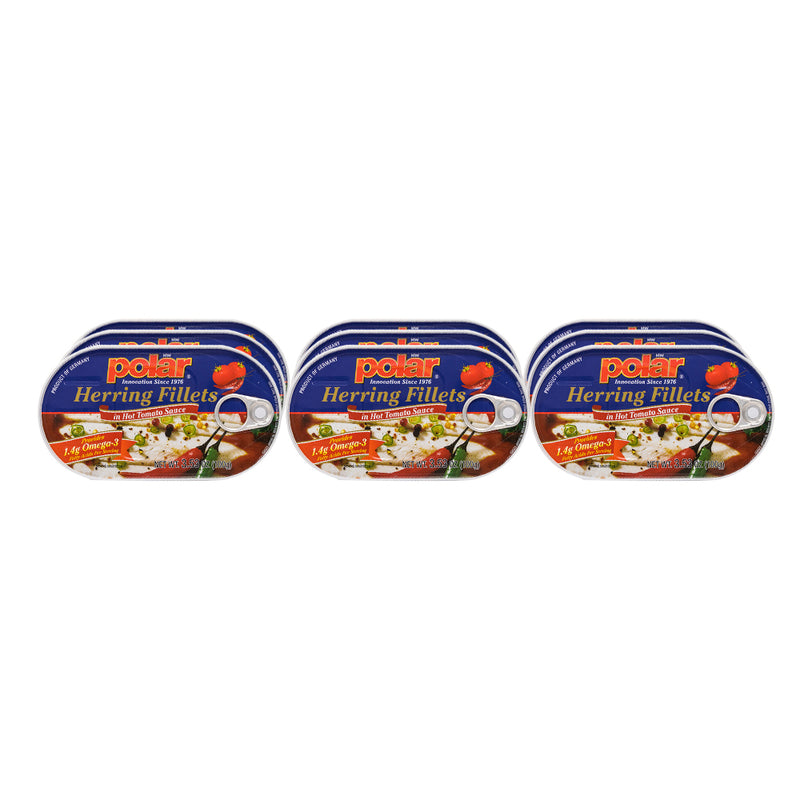 Herring in Hot Tomato Sauce 3.53oz (Pack of 9 or 18) - MWPolar
