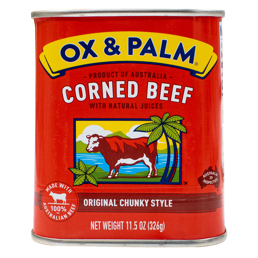 Ox & Palm Corned Beef Original Chunky Style in Tapered Can 11.5oz (Pack of 6, 12 or 24) - MWPolar