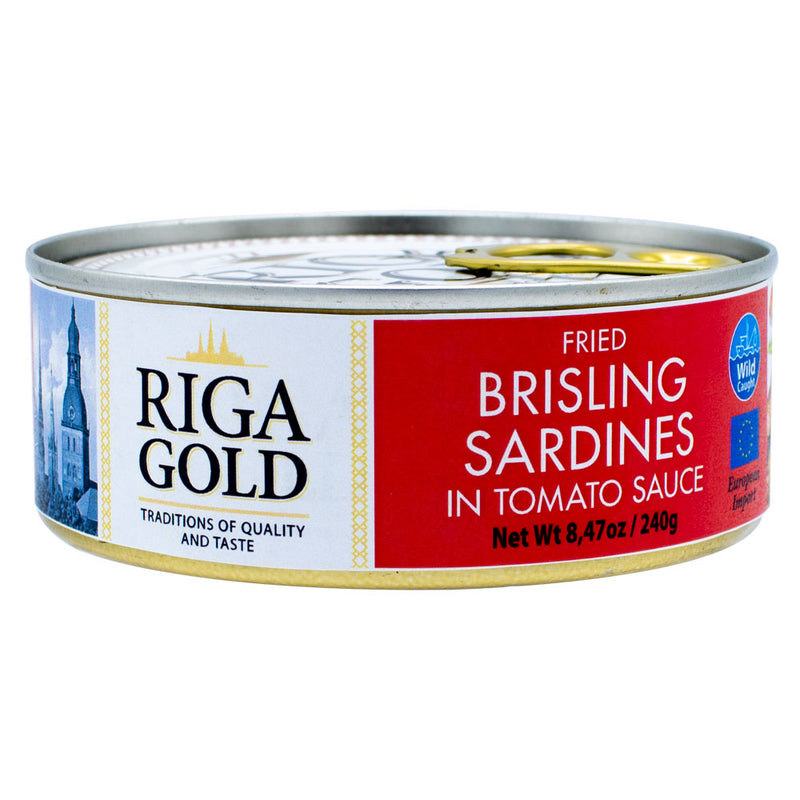 Riga Gold Fried Brisling Sardines in Tomato Sauce Chunk Style (Pack of 1, 6, 12 or 24) - MWPolar
