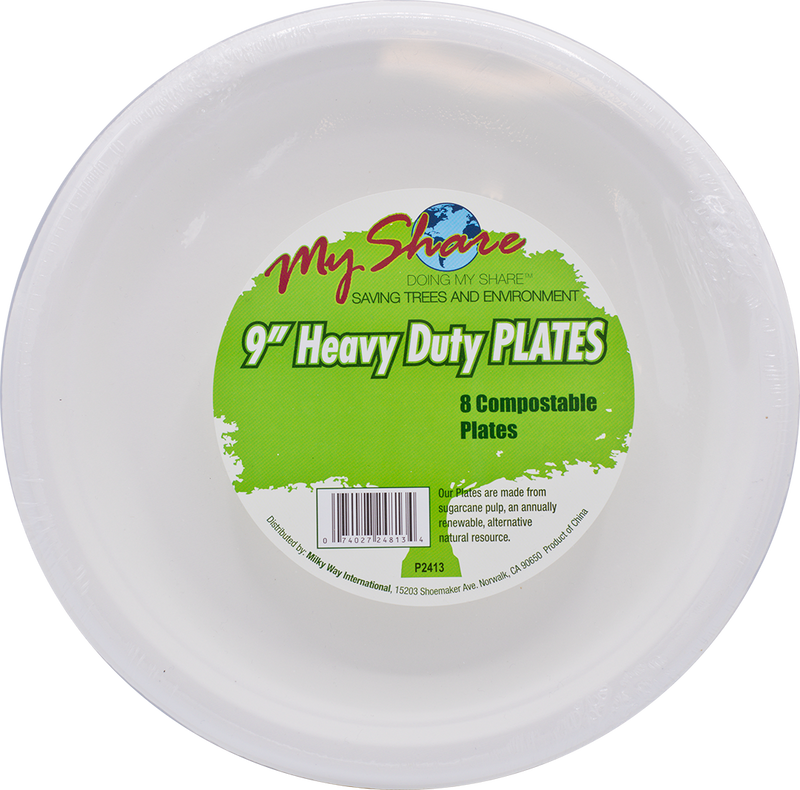 "MyShare Biodegradable 9"" Plates, Heavy Duty - 8 Count (Pack of 4 or 24) - MWPolar"