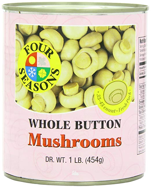 Four Seasons Whole Button Mushrooms 1lb (Pack of 12) - MWPolar