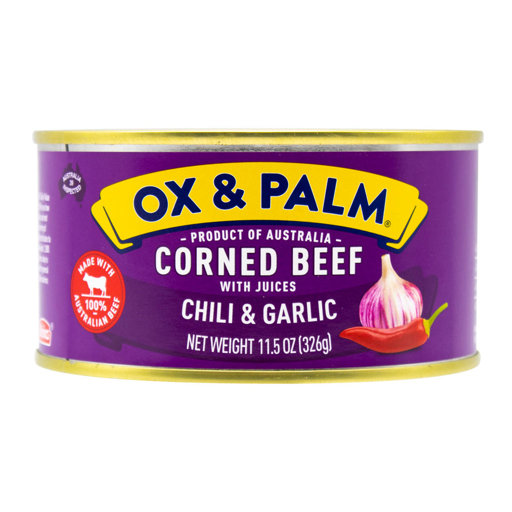 Ox & Palm Corned Beef Chilli & Garlic Favor 11.5oz (Pack of 6, 12 or 24) - MWPolar