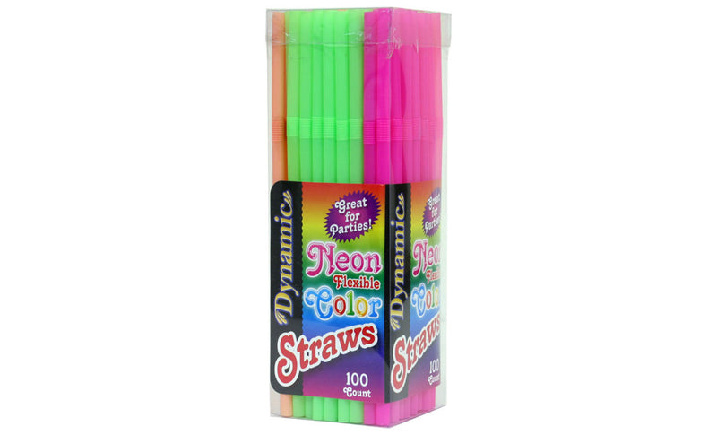 Neon Flexible Color Straws (24 Pack 100ct: 2400 Total Straws) - MWPolar