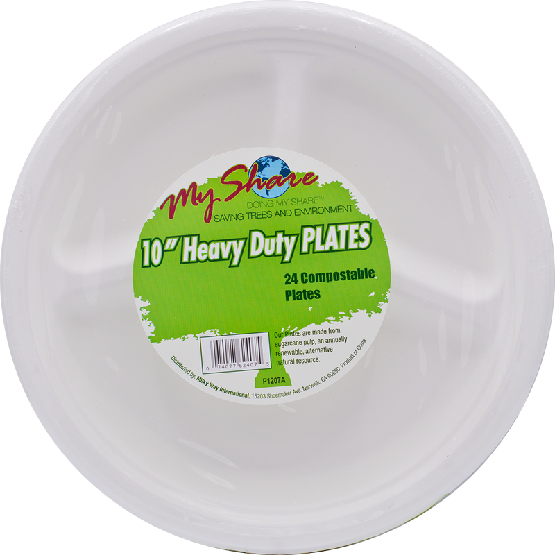"My Share Biodegradable 10"" 3-Section Plates, Heavy Duty, 24 Count (Pack of 4 or 12)"