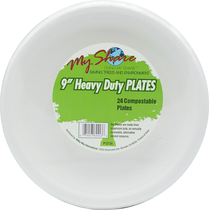 "My Share Biodegradable 9"" Plates, Heavy Duty- 24 Count (Pack of 4 or 12) - MWPolar"