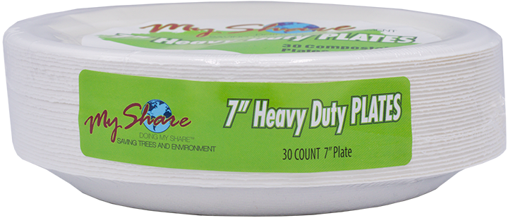 "My Share Biodegradable 7"" Plates, Heavy Duty, 30 Count (Pack of 4 or 12) - MWPolar"