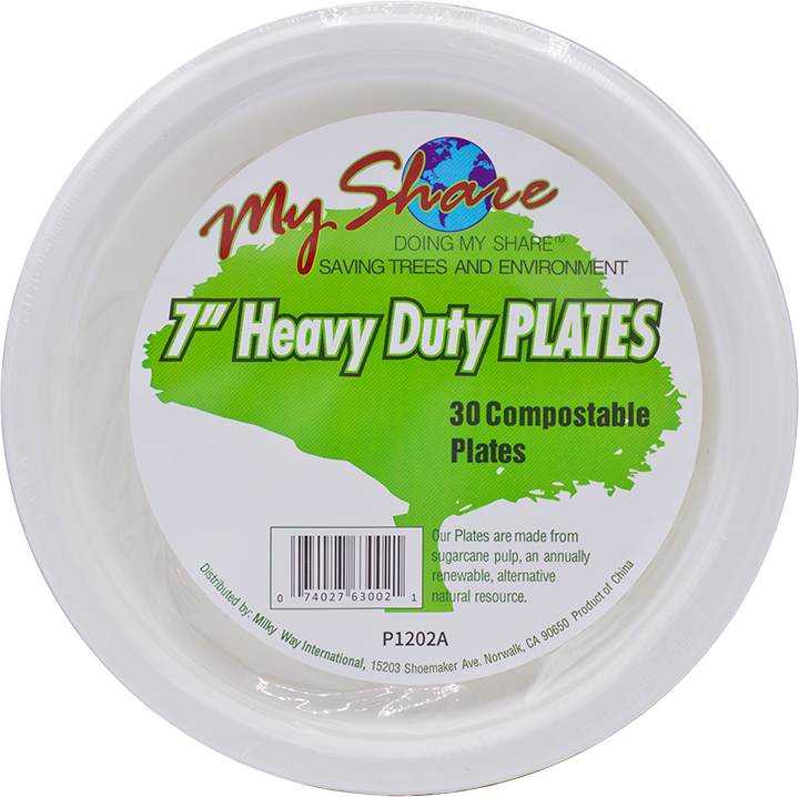"My Share Biodegradable 7"" Plates, Heavy Duty, 30 Count (Pack of 4 or 12)"