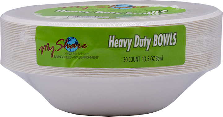 My Share Biodegradable 13.5oz Bowls, Heavy Duty, 30 Count (Pack of 4 or 12) - MWPolar