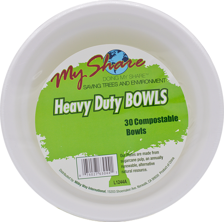 My Share Biodegradable 13.5oz Bowls, Heavy Duty, 30 Count (Pack of 4 or 12)