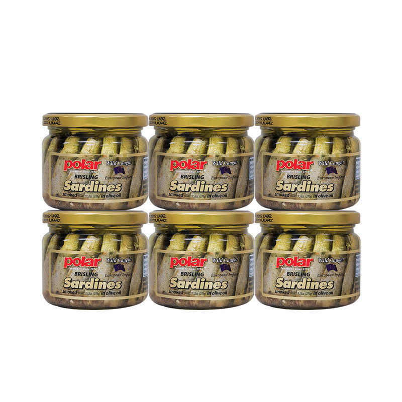 Polar Brisling Sardines Smoked in Olive Oil in Glass Jar 9.5 oz (Pack of 6) - MWPolar