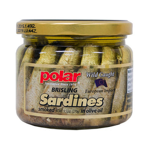 wood smoked wild caught Brisling Sardines