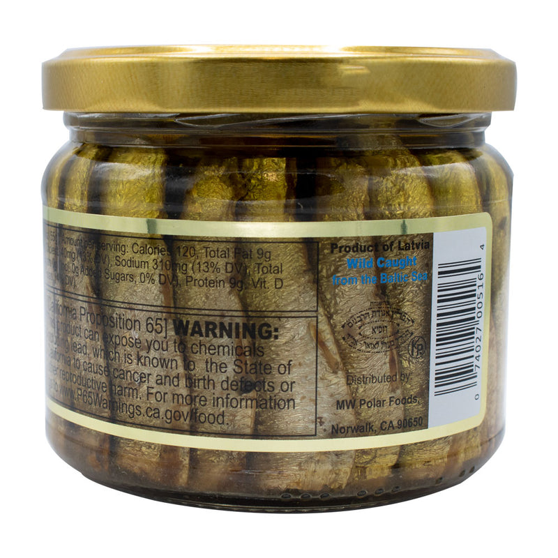 Brisling Sardines Smoked in Olive Oil in Glass Jar 9.5 oz (Pack of 6) - MWPolar