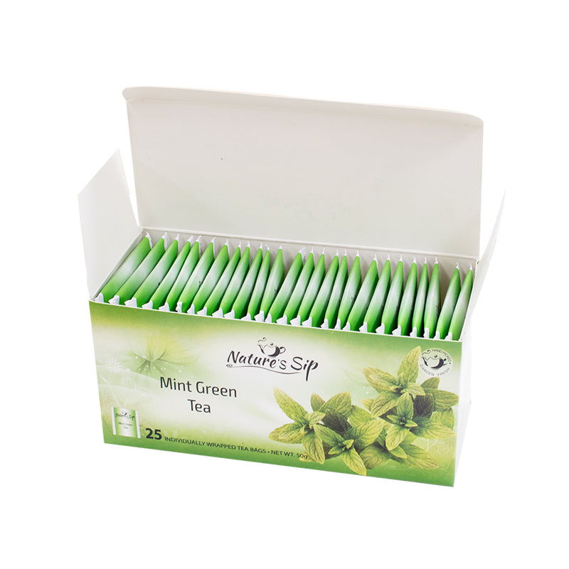 Nature's Sip Teas - Mint Green Tea 25 ct (Pack of 12 or 6) - MWPolar