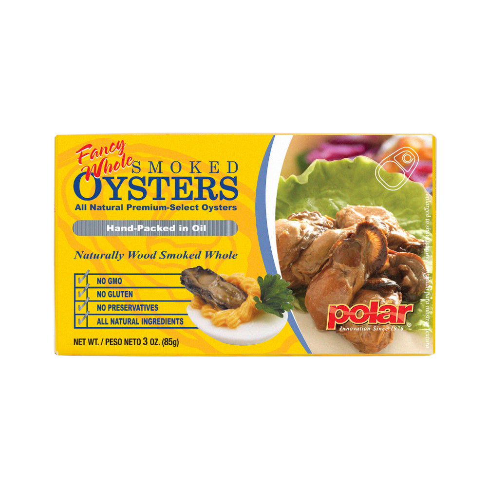 Polar Fancy Whole Smoked Oysters 3.53 oz (Pack of 12 or 18) - MWPolar