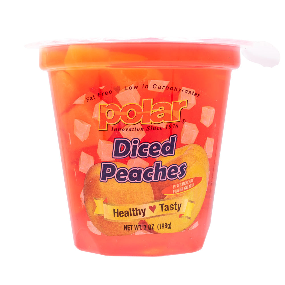 Diced Yellow Peaches in Strawberry Gel 7 oz (Pack of 12) - MWPolar
