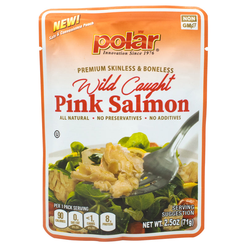 Wild Caught Pink Salmon Pouch - 2.5 oz (Pack of 12) - MWPolar